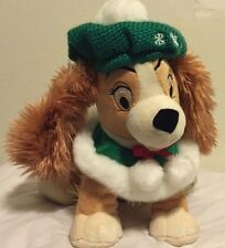 """Disney Store Christmas Lady And The Tramp Plush 12"""" Stuffed Holiday Green Beret"""