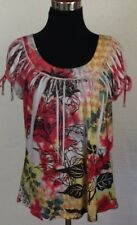 Simply Irresistible Medium Sublimation Stretch Top Pink Yellow Green Cap Sleeve
