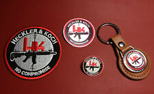 HECKLER & KOCH GUNS, LEATHER KEY RING, BADGE &  PATCH SET  & FREE PHONE STICKER