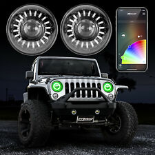 Jeep Headlight Smartphone-control White DRL & Amber Turn Signal & RGB Halo