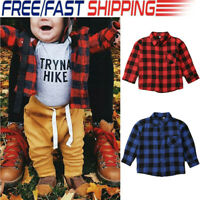 Toddler Kids Baby Boy Long Sleeve Plaid T-shirt Blouse Tops Clothes Outfit Shirt