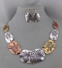 Silver Copper Gold Necklace Set Flower Antiqued Fashion Jewelry NEW