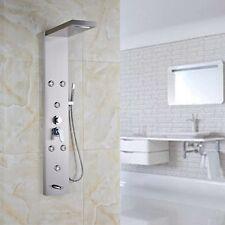 Brushed Nickel Shower Panel Column Massage Jets Tub Hand Shower Spray Mixer Tap