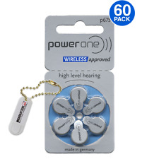 60 Power One Hearing Aid Batteries Size 675 + Free Keychain/2 Extra Batteries