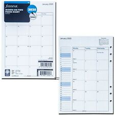 2020 Filofax A5 Size Refill 20-68510 C68510, Month On Two Pages, 148mm x 210mm