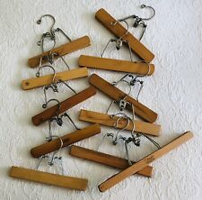 Vintage Lot 11 Pant/Skirt Wood Clip Clamp Hangers ~ Setwell, Berkshire, Montrose