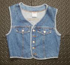 Vintage 1980's Women's Bongo Denim Vest Stonevashed Sz S Blue