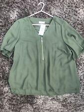 Women BNWT Green Khaki Chiffon Top Size 16