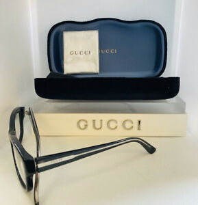 Gucci - Eye Glasses - Black- Crystal- womens -silver lined temples Rx. Case Inc
