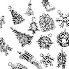 10Pcs Gift Mixed Silver Tone Christmas Motif Charms Pendants Lwx