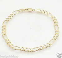 5.5mm Solid Royal Figaro Link Chain Bracelet Lobster Lock Real 10K Yellow Gold