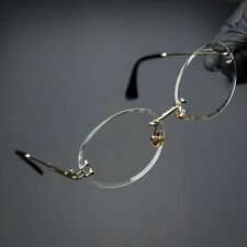 Round Cut Rimless Gold Frame Luxury Hip Hop Fashion Mens Clear Lens Glasses