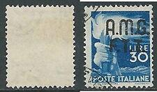 1947-48 TRIESTE A USATO DEMOCRATICA 2 RIGHE 30 LIRE FILIGRANA LETTERA - L2