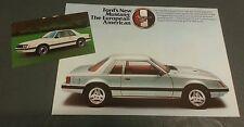 1979 1980 1981 FORD MUSTANG 2.3 TURBO GHIA - UK COLOUR FOLDER +POSTCARD BROCHURE