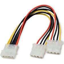 "24"" 4 Pin Molex Male to 2x 4-Pin Molex IDE Female Power Y Splitter Adapter Cable"