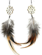 F1624 light dangle chandelier hook natural feather earrings with flower