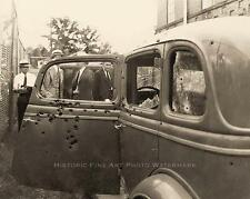 BONNIE AND CLYDE VINTAGE PHOTO AMBUSHED DEATH CAR BULLET HOLES #20965
