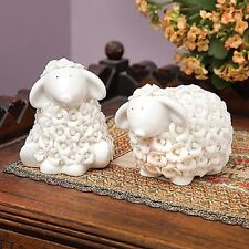 Set/2 Porcelain Rosebud Sheep Figurines Home Decor New In Box Deluxe