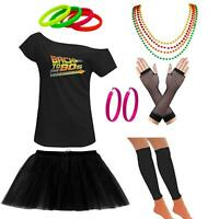 Ladies Off Shoulder Back To The Eighties TShirt Tutu Skirt Set Accessories 6450