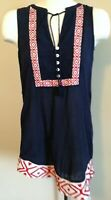 Anthropologie THML XS Stitch Fix Embroidered Printed Sleeveless Tunic Top Navy