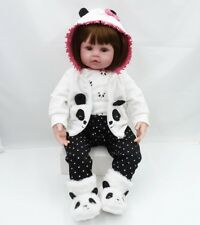 24''61cmReborn Dolls Doll House Look Real Panda Soft Silicone Baby Xmas Gift