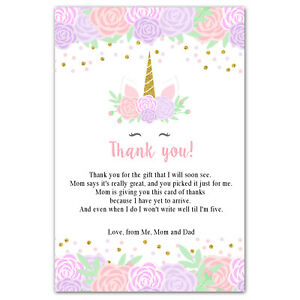 30 thank you cards unicorn face purple pink gold baby girl shower