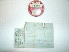 1929 pa Pennsylvania fishing license with papers