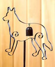 Metal Dog German Shepherd Garden Stake Garden Bell Yard Patio Outdoor Home Decor