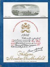 PAUILLAC 1EGCC ETIQUETTE CHATEAU MOUTON ROTHSCHILD 1946 75 CL DECOREE §01/04/18§