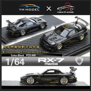 YM Model 1:64 Mazda RX-7 Amemiya Black Resin Model w/ Decals