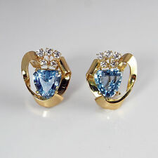 Santa Marie Aquamarine Earrings Diamond 14K Art Deco 1930s 1940s Gatsby Downton