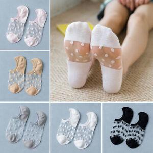 Women Dot Transparent Ankle Socks Summer Low Cut Invisible Mesh Boat Socks AU