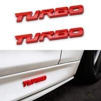 2X Large RED 3D turbo Letter Emblem Badge Metal Chrome Sticker For Car Truck
