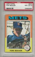 1975 TOPPS #370 TOM SEAVER, PSA 8 NM-MT, HOF, NEW YORK METS, L@@K