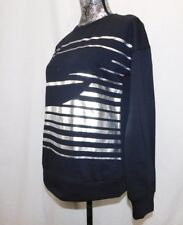 New! Fabletics Black & Foil Silver L/S Fleece Lined Pullover Sweatshirt....S