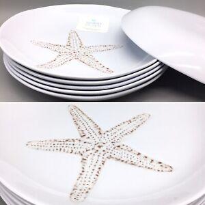 x6 SIGRID OLSEN Textured Starfish Melamine Dinner Plates Curved Ocean Beach Sand