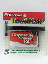 Personna TravelMate Trac II Razor Handle w/ 5 Blades (2 Pack) + Makeup Sponge