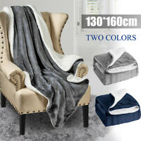 Solid Warm Sherpa Throws Sofa Bed Home Fleece Blanket Fur Plush Bedding  *