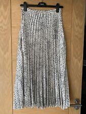 Womens Asos Pleated Long Skirt Size 8 White Spot