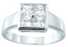2.05 ct Classic Fashion Ring 925 Sterling Cz Silver Platinum Fn Size 6 Band