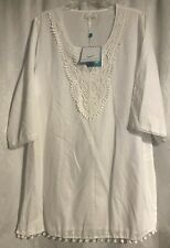 SHIRALEAH CHICAGO White V-neck Lace Cotton Cover Up Dress Size XLarge- NWT!