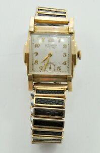 Art Deco Gruen Veri-Thin Precision Watch 10k GF w/JB Champion Stretch Wristband