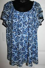 Fashion Bug 1x Blue Black Lace Short Tiered Sleeves Summer Blouse