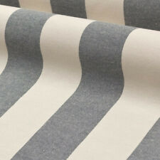 Lincoln Stripe Navy | Natural 100% Cotton Romo Style Fabric |Curtains Upholstery