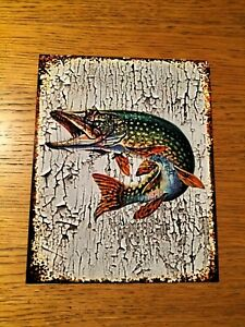 PIKE  FISH ,GRUNGE CRACKED PAINT EFFECT  METAL SIGN /WALL ART, FISHING INTEREST