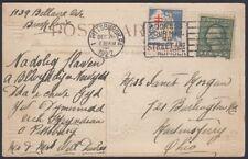 U.S 1922. Post Card Xmas Seal WX30, tied Pittsburgh