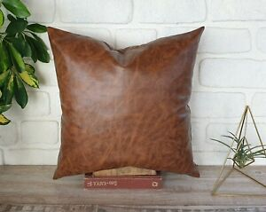 Walnut brown faux leather color-back side natural linen fabric pillow cover-1QTY