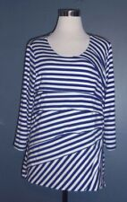 CHICOS Size 1 (10/12) Navy Blue White Striped Asymmetrical  Tiered Knit Top