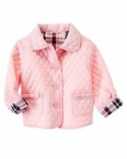 Gymboree Homecoming Kitty 5-6 Pink Quilted Jacket Waffle Inside Plaid Lining
