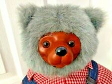 Robert Raikes Signed Numbered Huckle Bear 1985 Red Checked Shirt with Overalls